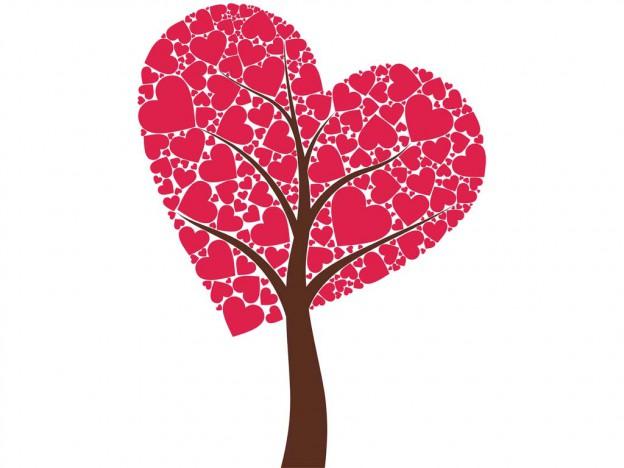 un arbre de coeurs pour la saint-valentin